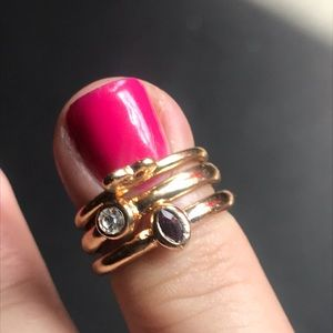 Goldtone tiny stackable rings